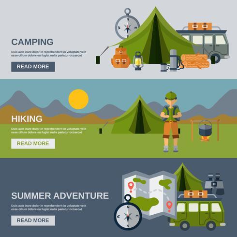 Set di banner da campeggio vettore