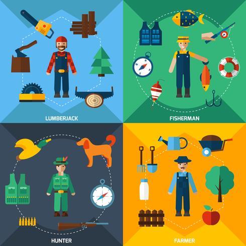 Set di icone di professioni di gestione della natura vettore