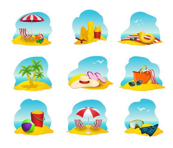 Set di icone di spiaggia vettore