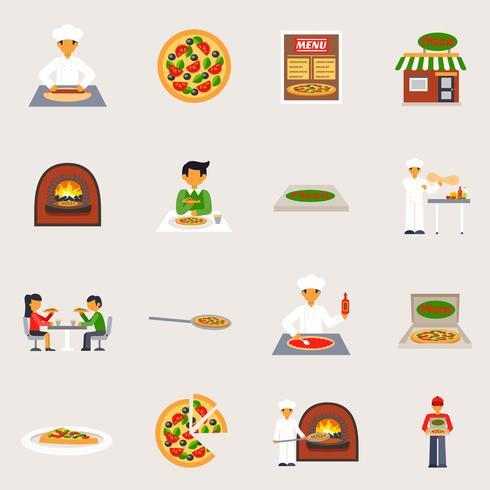 Set di icone della pizzeria vettore