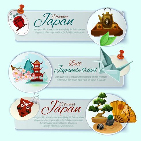 Set di banner di viaggio in Giappone vettore