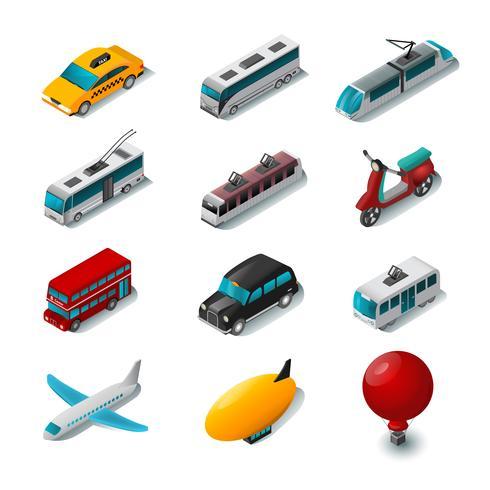 Set di icone di trasporto pubblico vettore