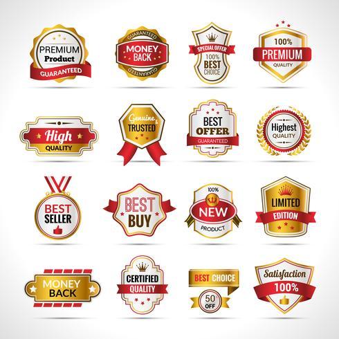 Etichette di lusso in oro e rosso vettore