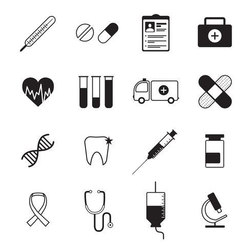Le icone della medicina hanno messo il nero vettore