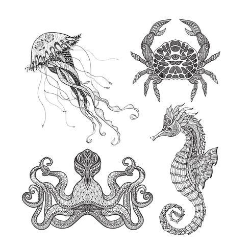Insieme di doodle marino mare vettore