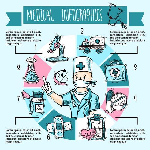 Schizzo di infografica medica vettore
