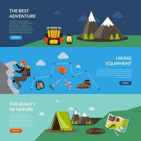 set di banner avventura campeggio vettore