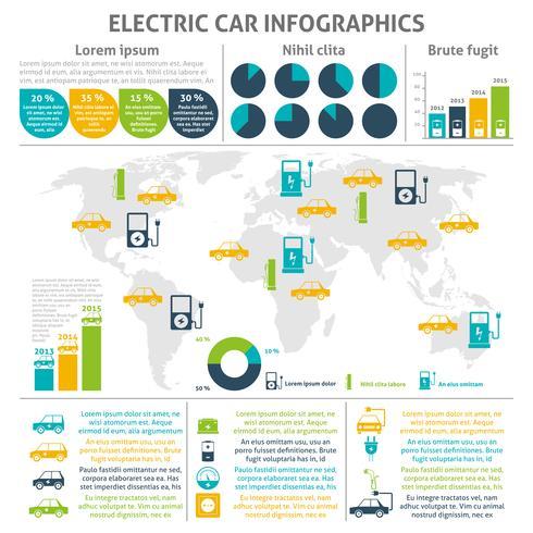 Set di infografica auto elettrica vettore