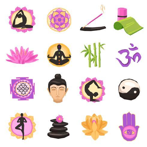 Set di icone di yoga vettore