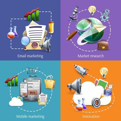 Marketing digitale 4 icone piane quadrate vettore