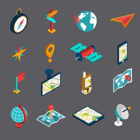 Set di icone isometriche di navigazione vettore