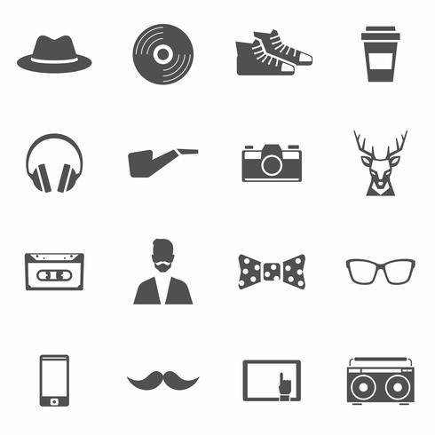 Set di icone nere hipster vettore
