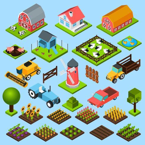 Set di icone isometriche di fattoria vettore
