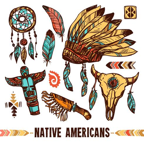 Set di icone decorative nativi americani vettore