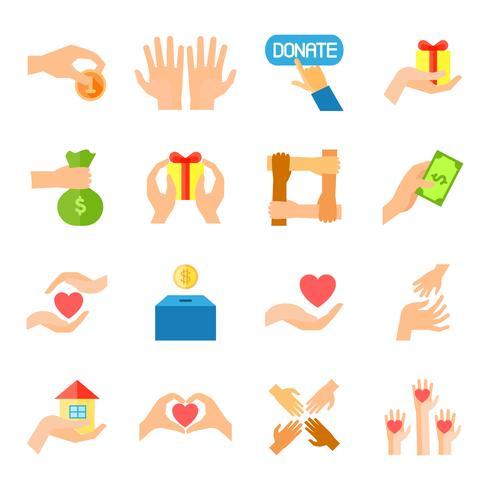 Donare e dare set di icone vettore