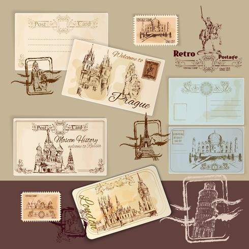 Modello di cartoline d'epoca vettore