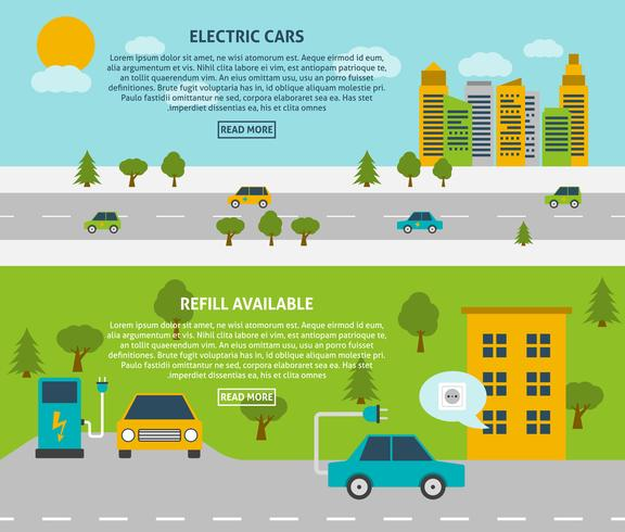 Set di banner per auto elettriche vettore