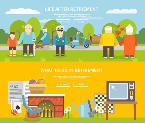 Set di Banner vita pensionati vettore