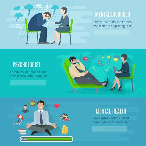 Set di banner piatto di salute mentale vettore