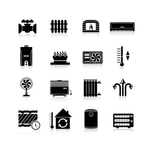 Riscaldamento icone set nero vettore