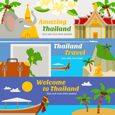 Set di banner di viaggio Thailandia vettore