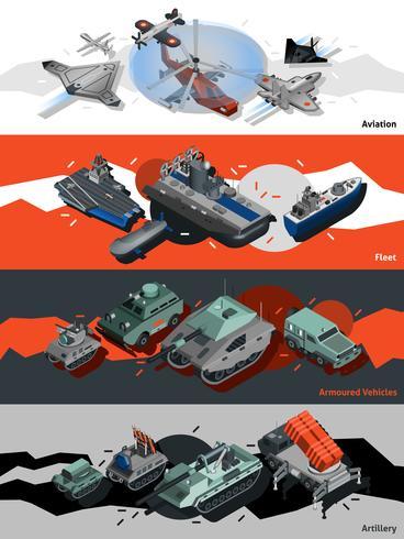 Banner di attrezzature militari isometriche vettore