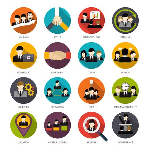 Set di icone di risorse umane vettore