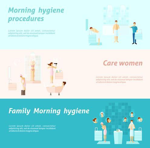 Banner di igiene familiare e donna di mattina vettore