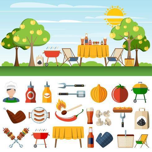 Bandiere di compostion icone picnic barbecue vettore