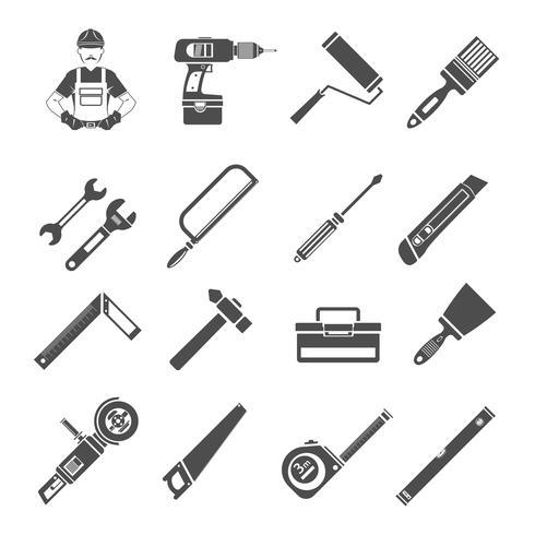 Set di icone di strumenti nero vettore
