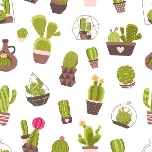 modello senza cuciture di cactus vettore