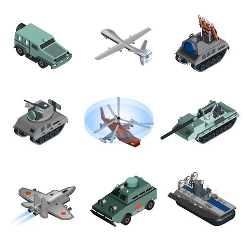 Equipaggiamento militare isometrico vettore