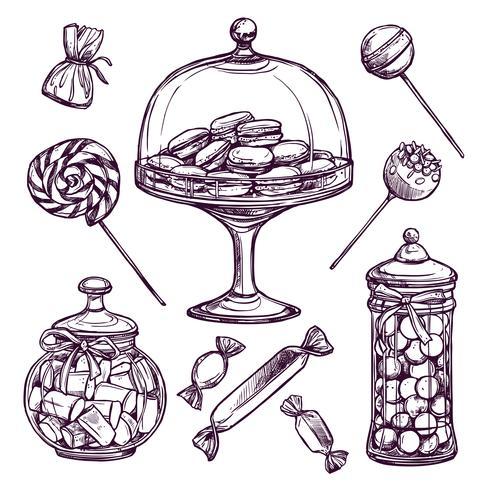 Set di schizzo di caramelle vettore
