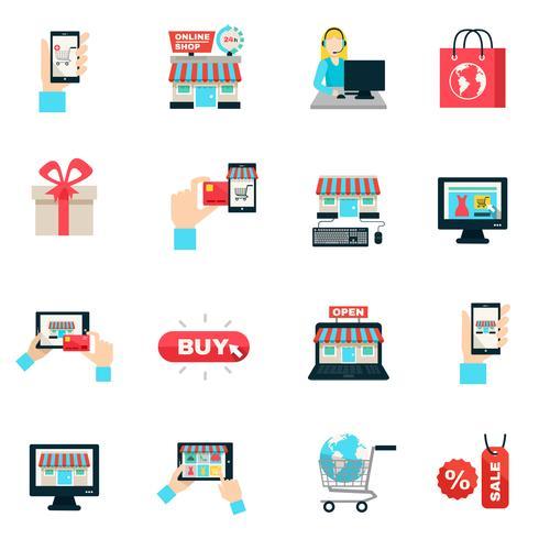 Set di icone piatto di Internet Shopping vettore