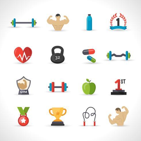 Set di icone di bodybuilding vettore