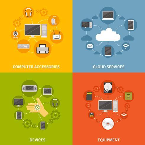 Dispositivi del computer e servizio Icon Set vettore