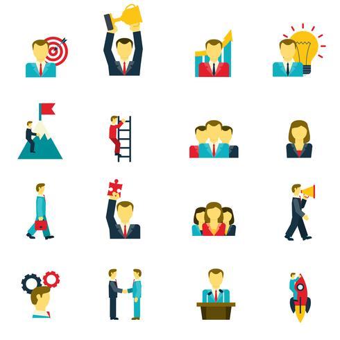 Set di icone di leadership vettore