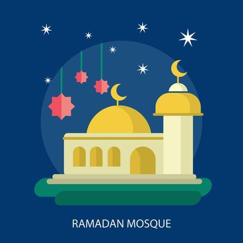 Progettazione dell'illustrazione concettuale della moschea di Ramadhan vettore