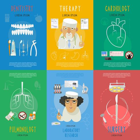Manifesto della composizione icone piane di medicina vettore