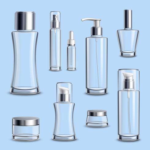 Insieme realistico del pacchetto di vetro dei cosmetici vettore