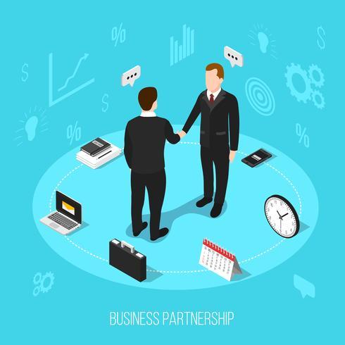 Fondo isometrico di partenariato commerciale vettore