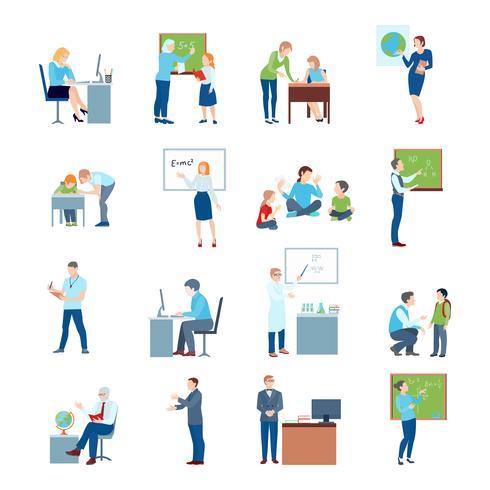 Scuola College Teacher Flat Icons vettore