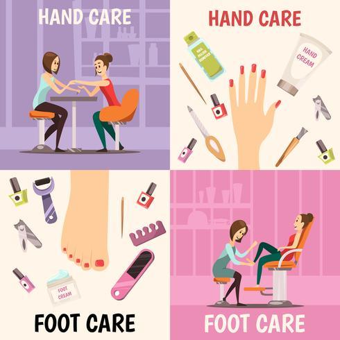 Set di icone di concetto di manicure vettore