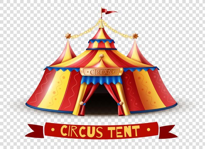 Immagine di sfondo trasparente della tenda di circo vettore