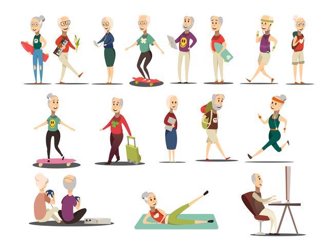 Set di icone di concetto di persone anziane vettore