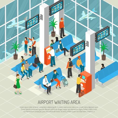 Illustrazione isometrica di attesa di aeroporto vettore