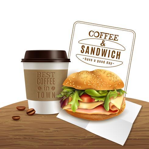 Pubblicità realistica degli alimenti a rapida preparazione del panino del caffè vettore