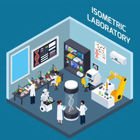 Laboratorio di design isometrico interno vettore