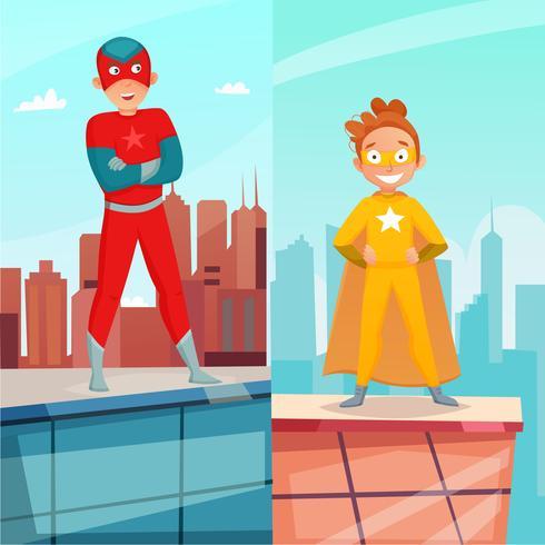 Banner verticale di supereroi per bambini vettore