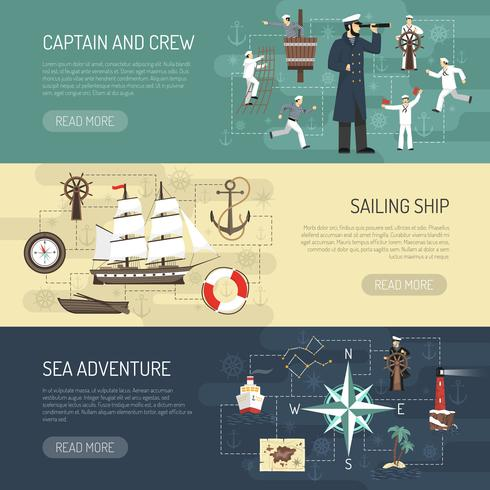 Progettazione di pagine Web di banner orizzontale a vela vettore